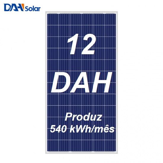 Kit Solar com placas DAH 330 Wp que gera 540 kWh/mês