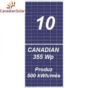 10 Painéis Canadian Solar 355 Wp