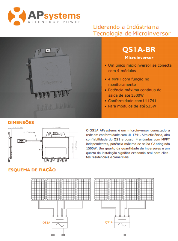 Dados Técnicos - Micro Inversor APsystems QS1A 1500W
