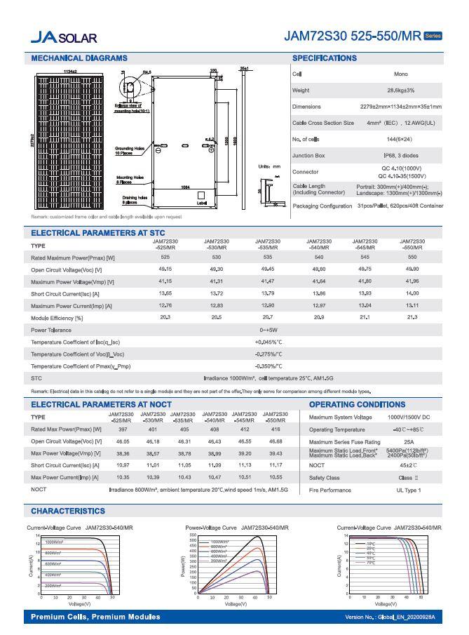 JA SOLAR JAM72S30-535-MR-